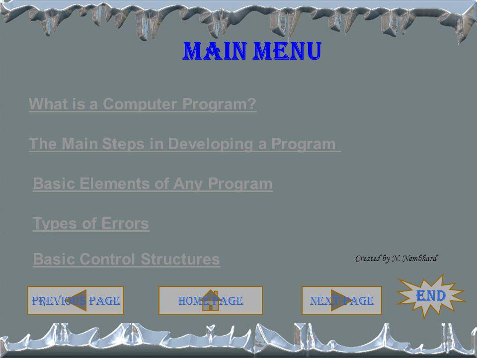 Main Menu What is a Computer Program