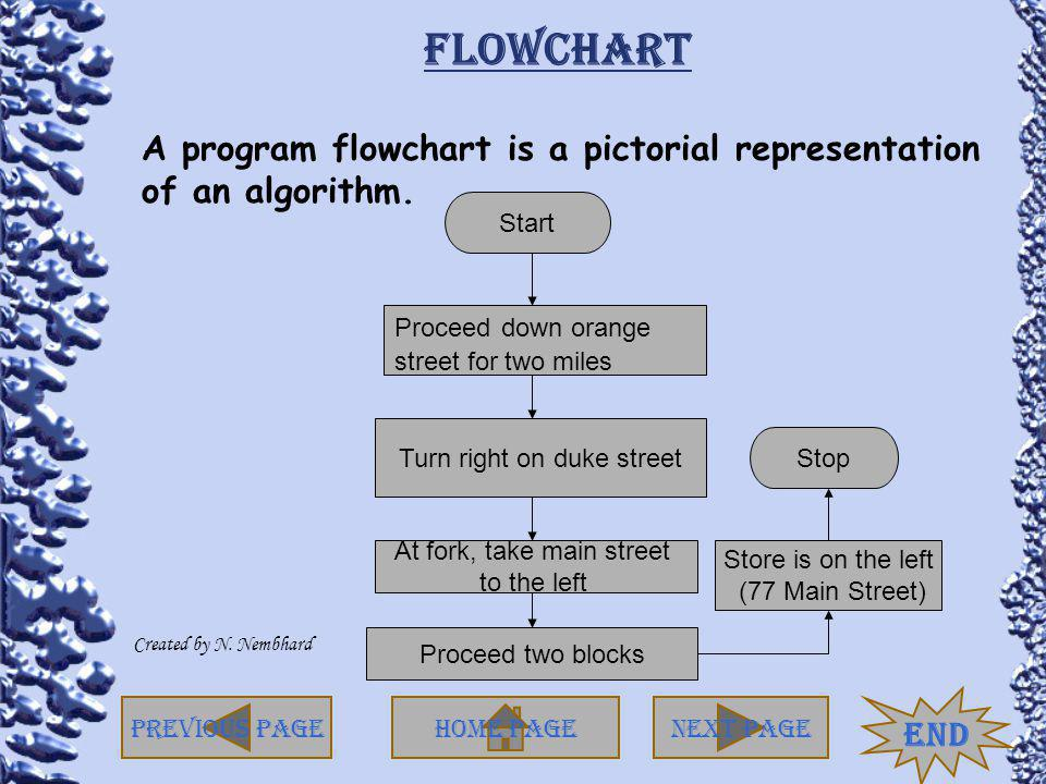 Flowchart A program flowchart is a pictorial representation of an algorithm. Start. Proceed down orange.