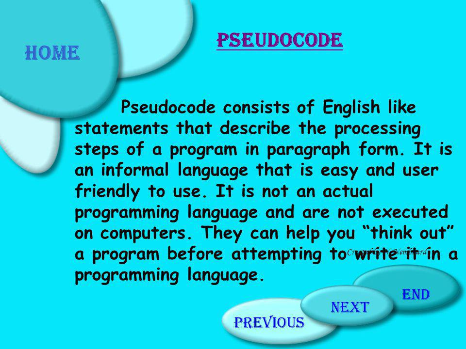 Home Pseudocode.