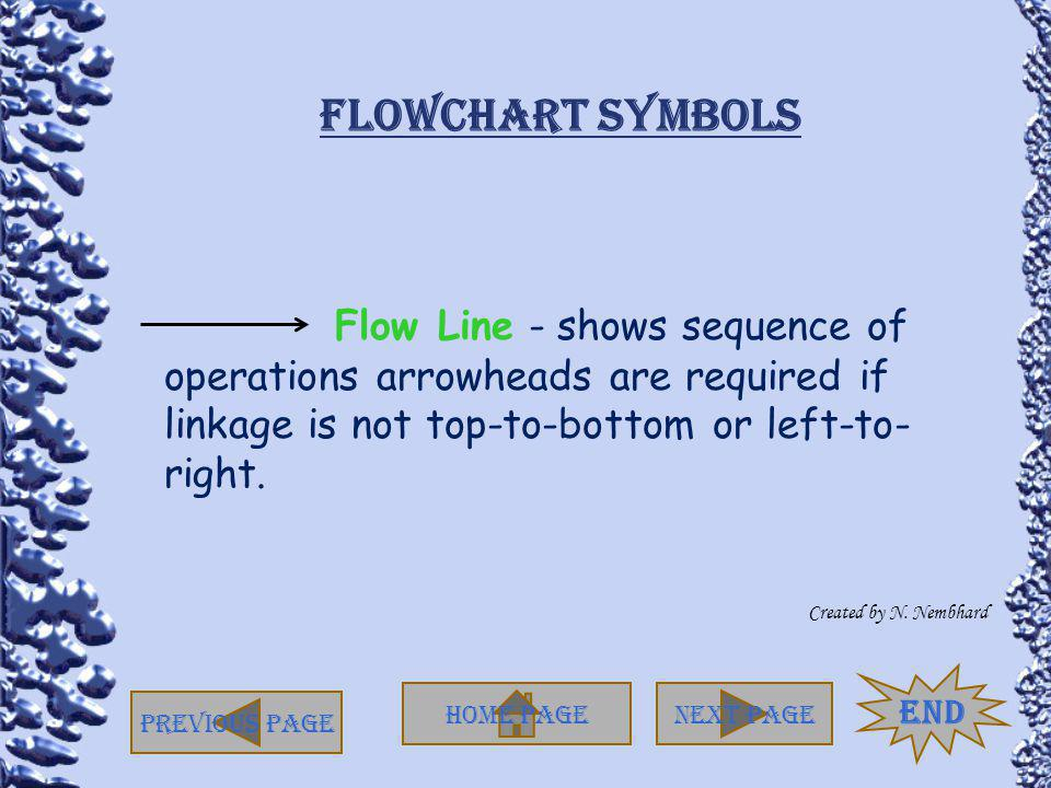 Flowchart Symbols Flow Line - shows sequence of operations arrowheads are required if linkage is not top-to-bottom or left-to-right.