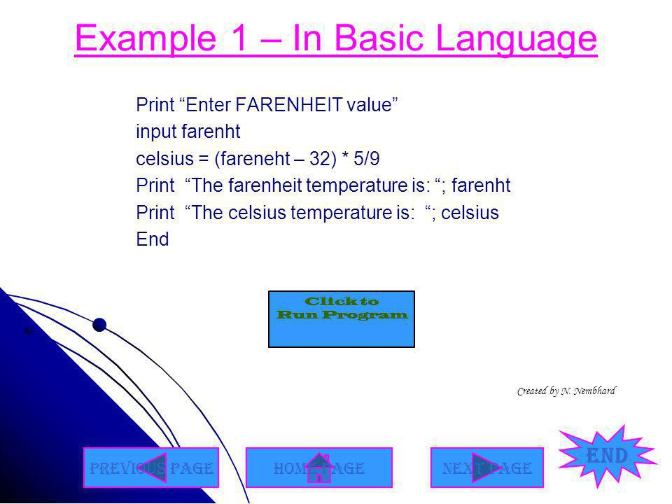 Example 1 – In Basic Language