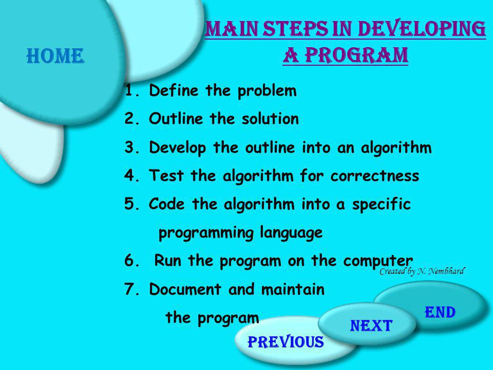 Main Steps in Developing a Program
