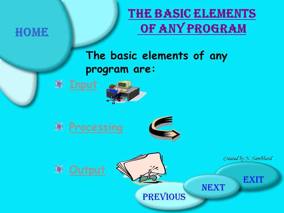 Home The Basic Elements of any Program
