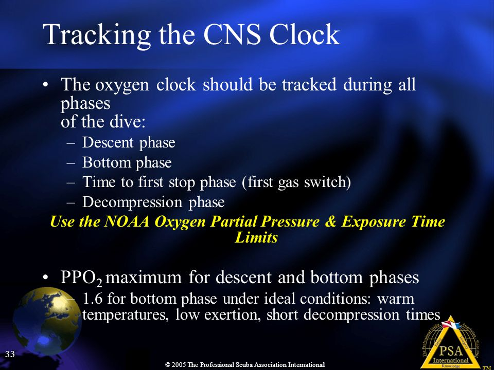 Tracking the CNS Clock The oxygen clock should be tracked during all phases of the dive: Descent phase.