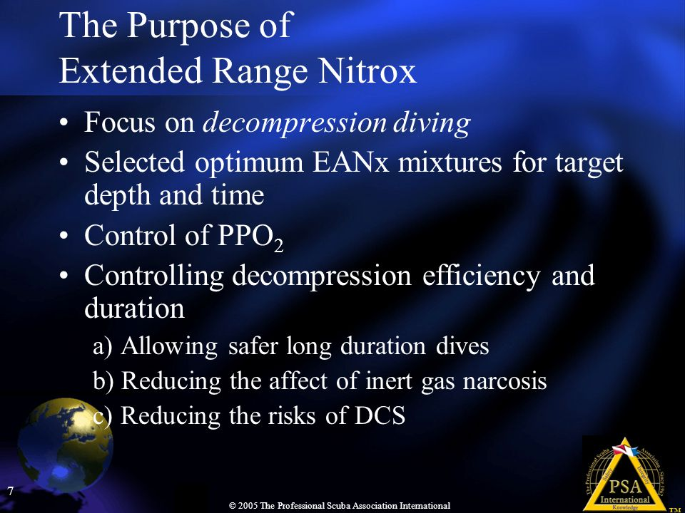 The Purpose of Extended Range Nitrox
