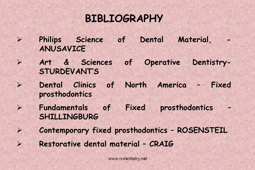 BIBLIOGRAPHY Philips Science of Dental Material, - ANUSAVICE