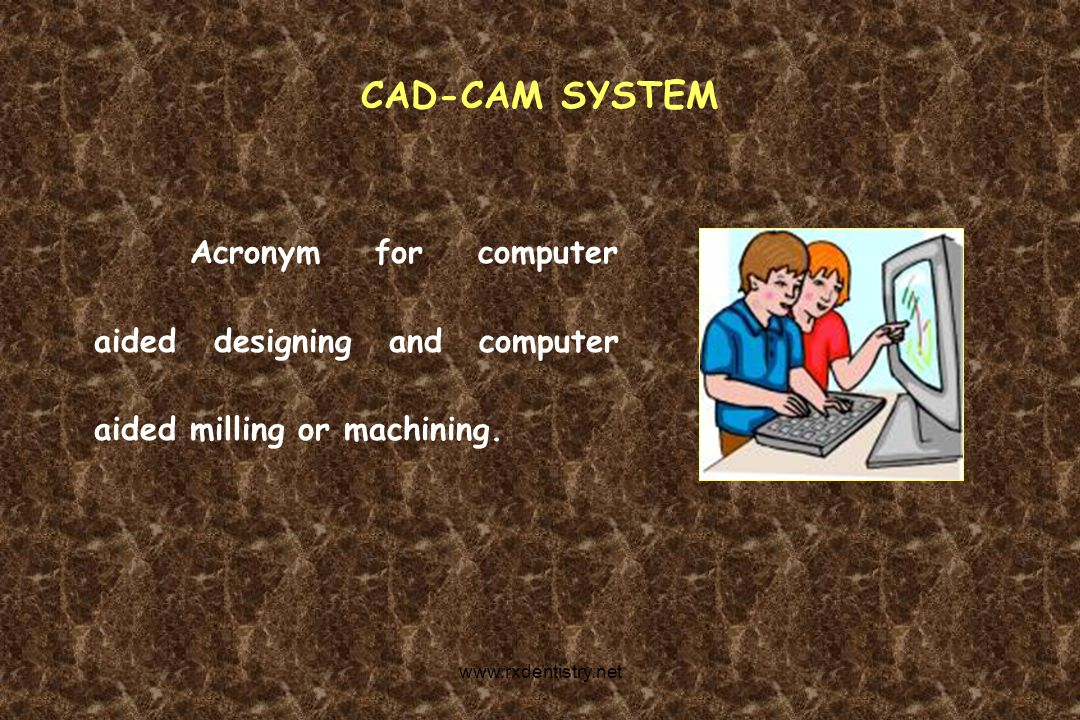 CAD-CAM SYSTEM Acronym for computer aided designing and computer aided milling or machining.