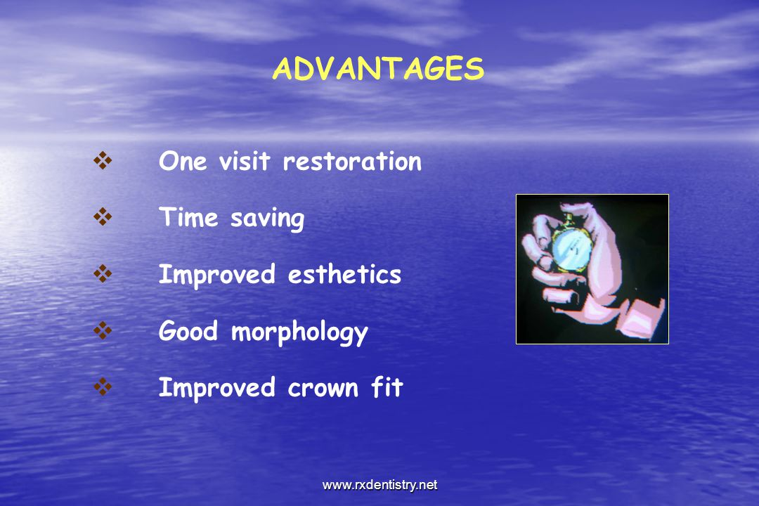 ADVANTAGES One visit restoration Time saving Improved esthetics