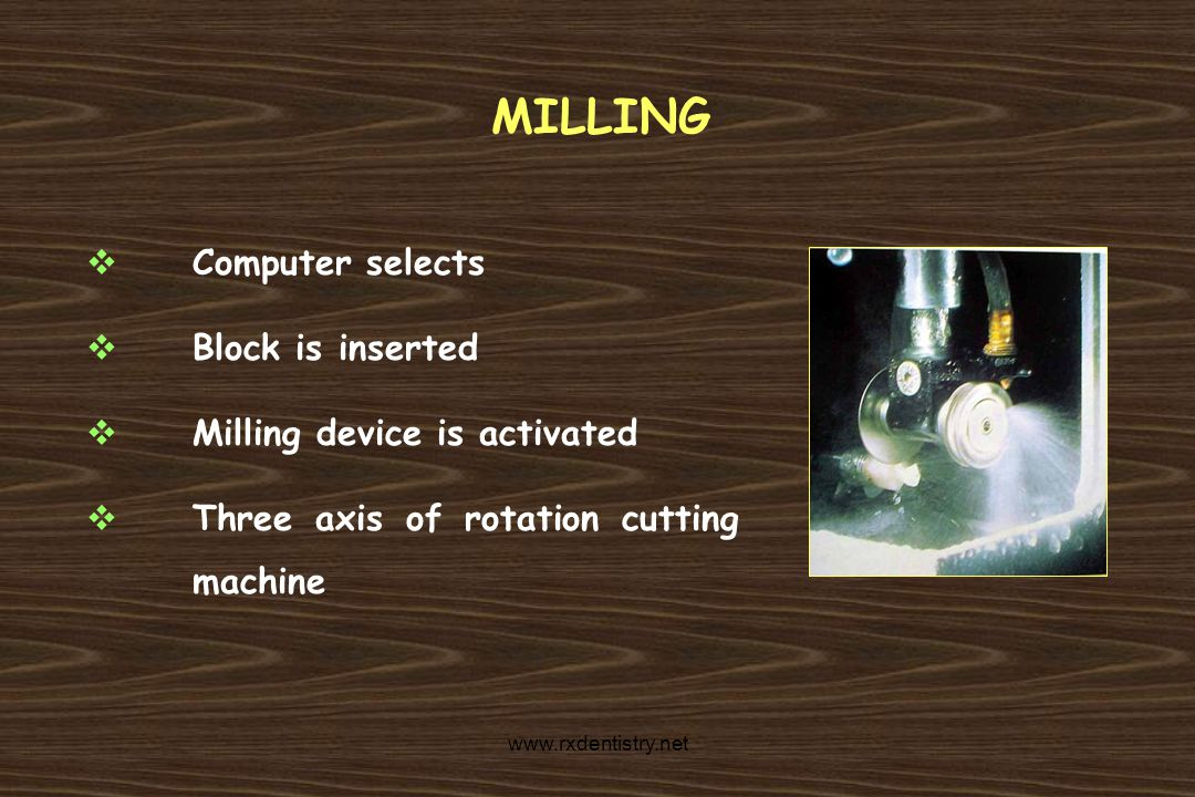 MILLING Computer selects Block is inserted Milling device is activated