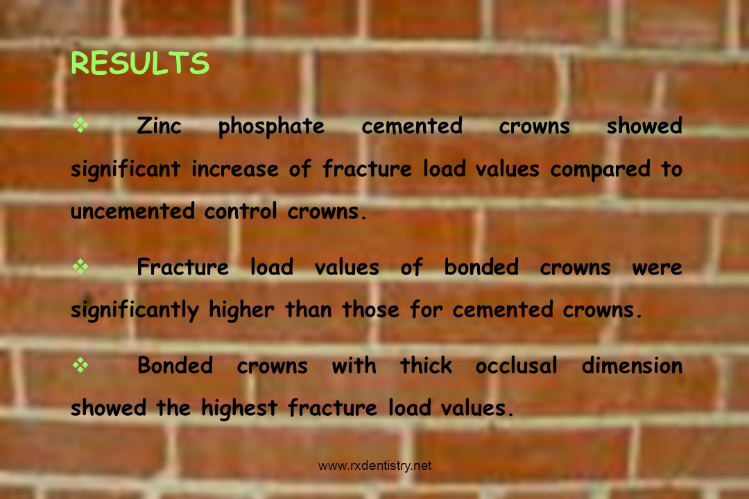 RESULTS Zinc phosphate cemented crowns showed significant increase of fracture load values compared to uncemented control crowns.