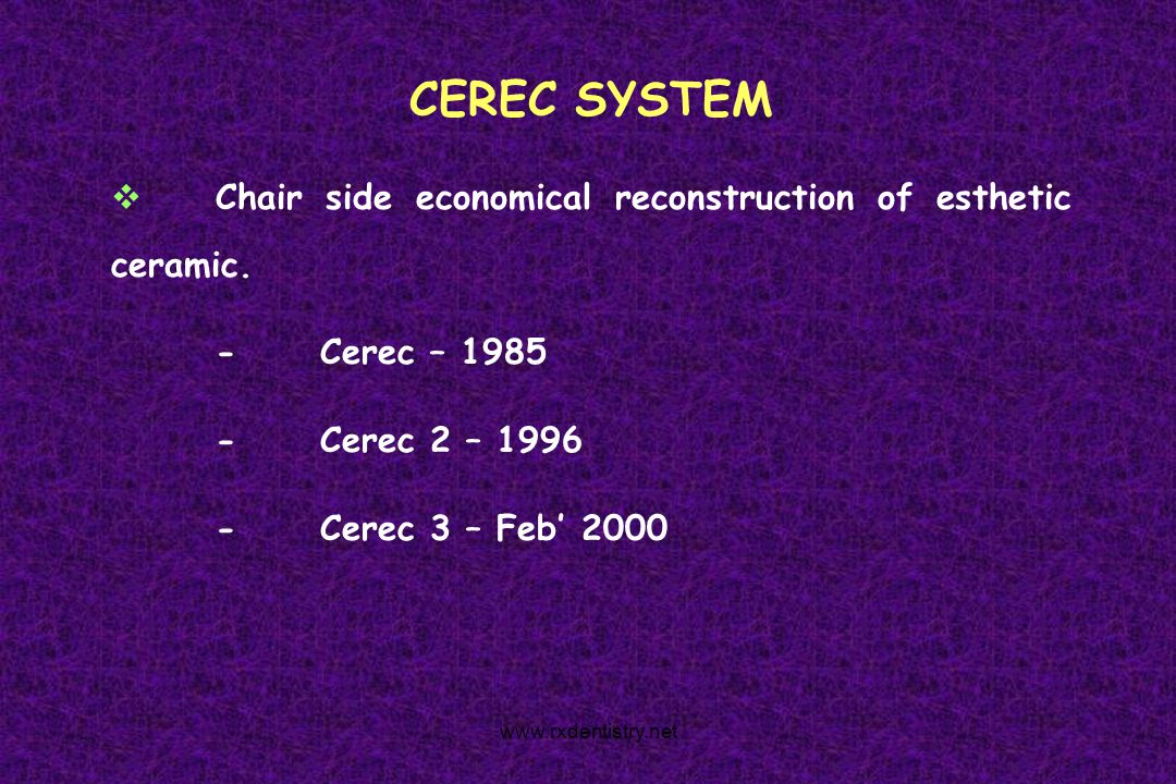 CEREC SYSTEM Chair side economical reconstruction of esthetic ceramic.