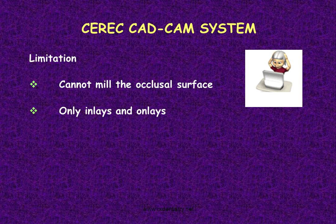 CEREC CAD-CAM SYSTEM Limitation Cannot mill the occlusal surface