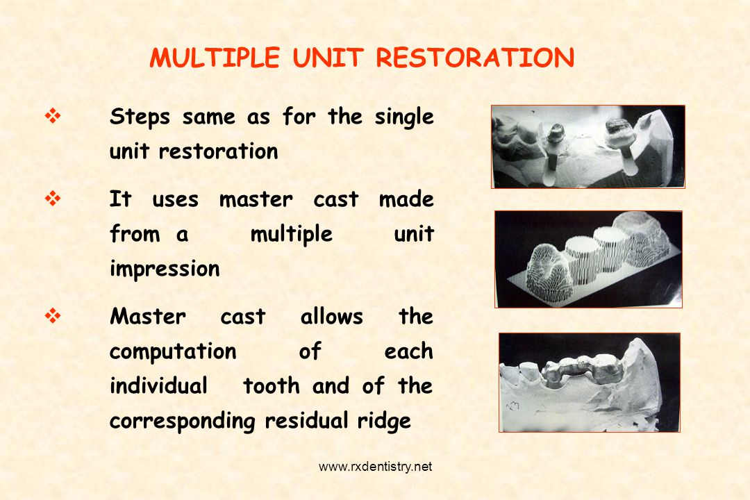 MULTIPLE UNIT RESTORATION