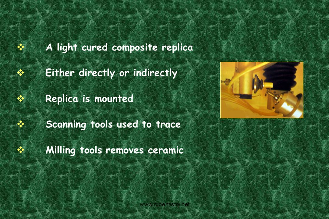 A light cured composite replica Either directly or indirectly