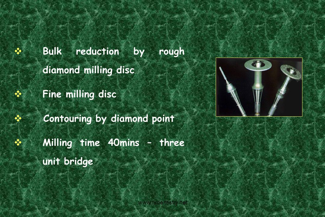 Bulk reduction by rough diamond milling disc
