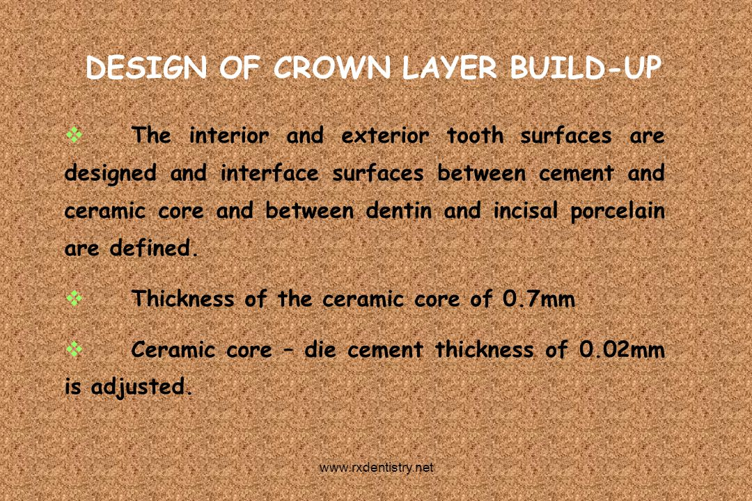 DESIGN OF CROWN LAYER BUILD-UP