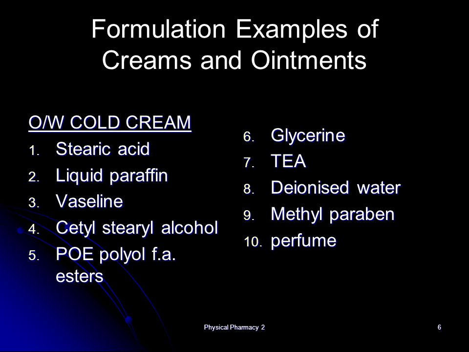 Formulation Examples of Creams and Ointments