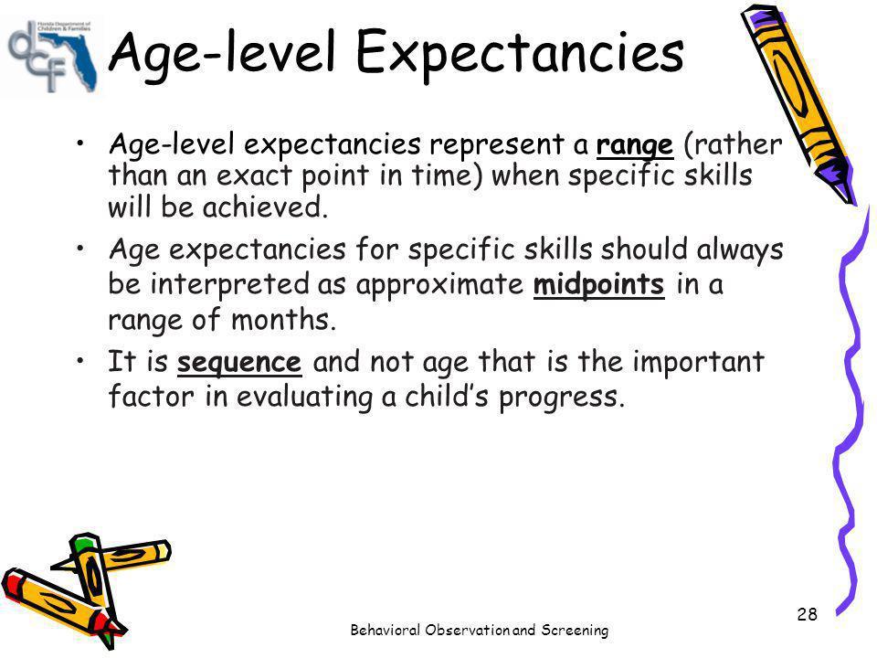 Age-level Expectancies