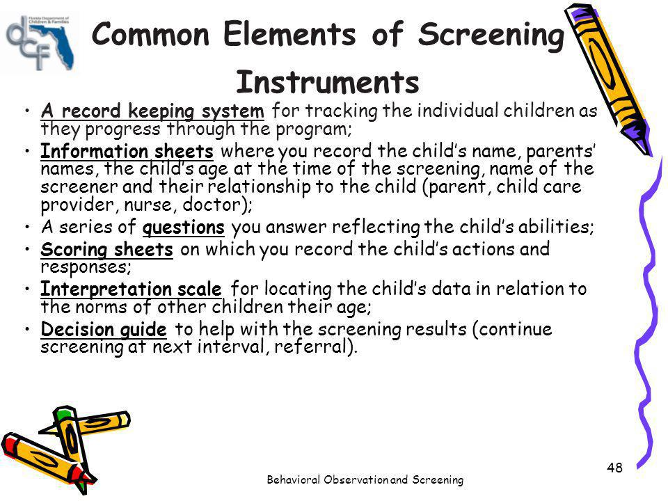 Common Elements of Screening Instruments