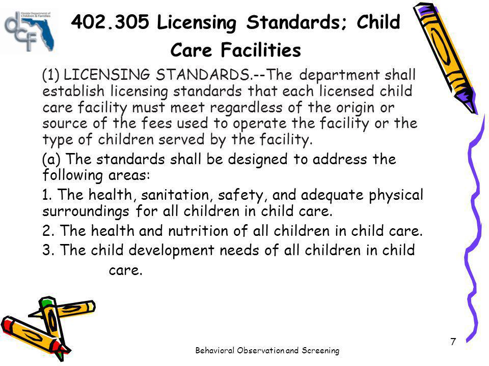 402.305 Licensing Standards; Child Care Facilities