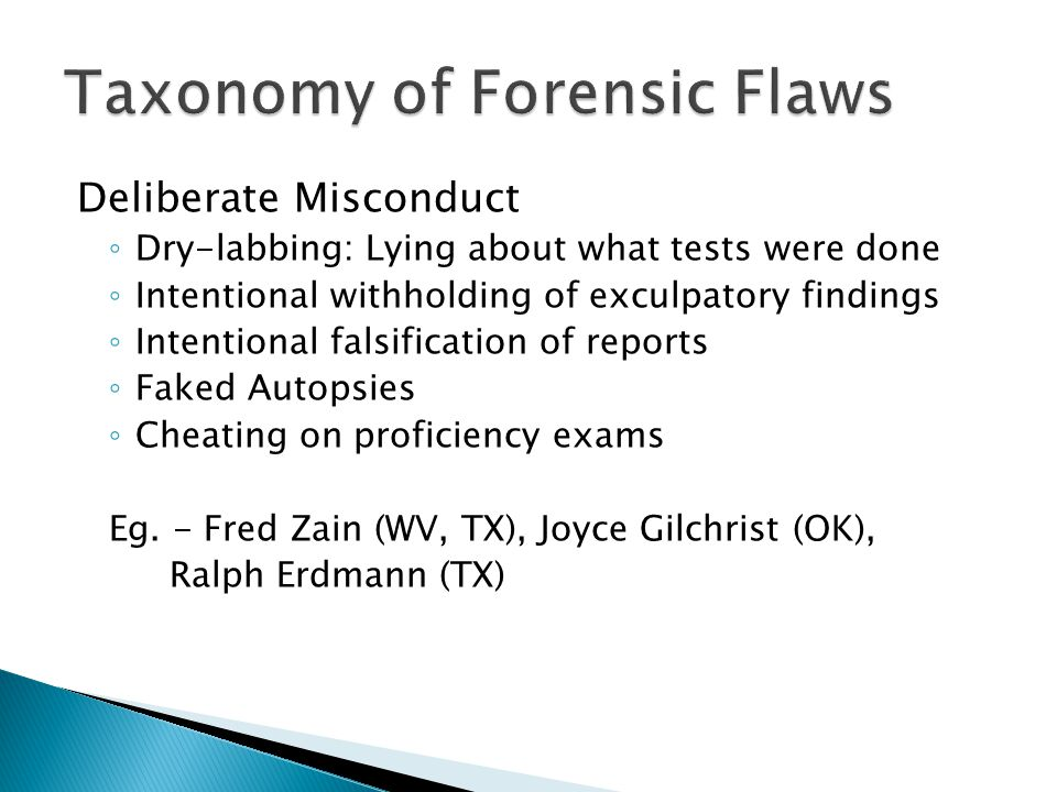 Taxonomy of Forensic Flaws