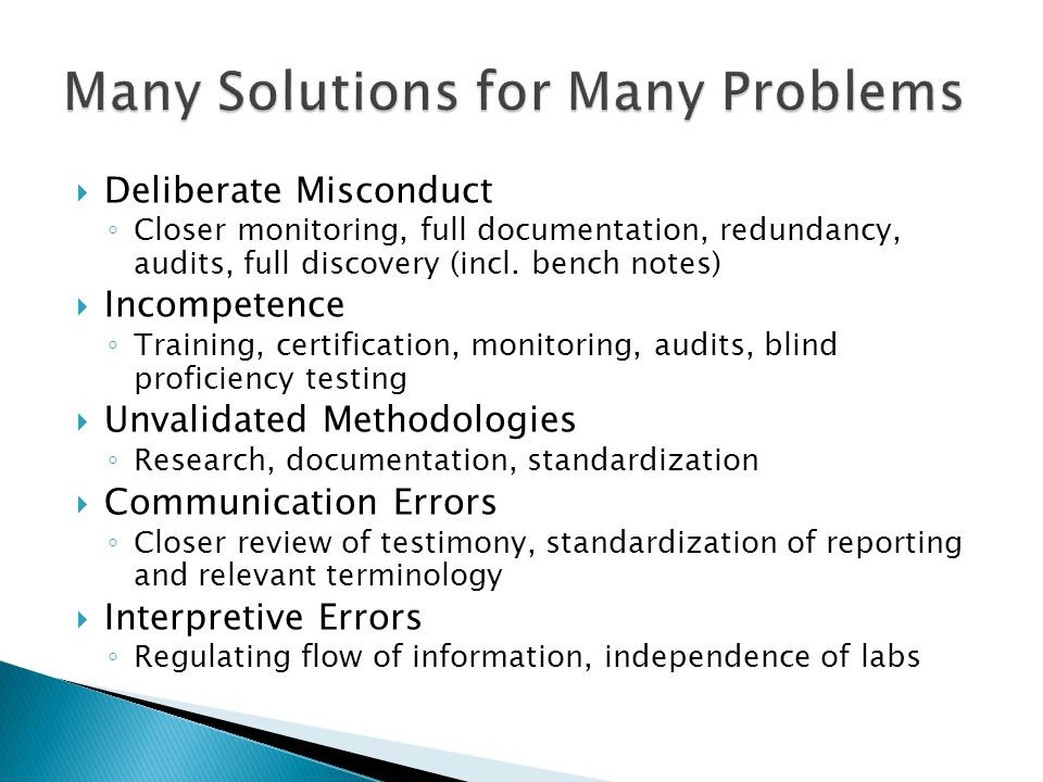 Many Solutions for Many Problems