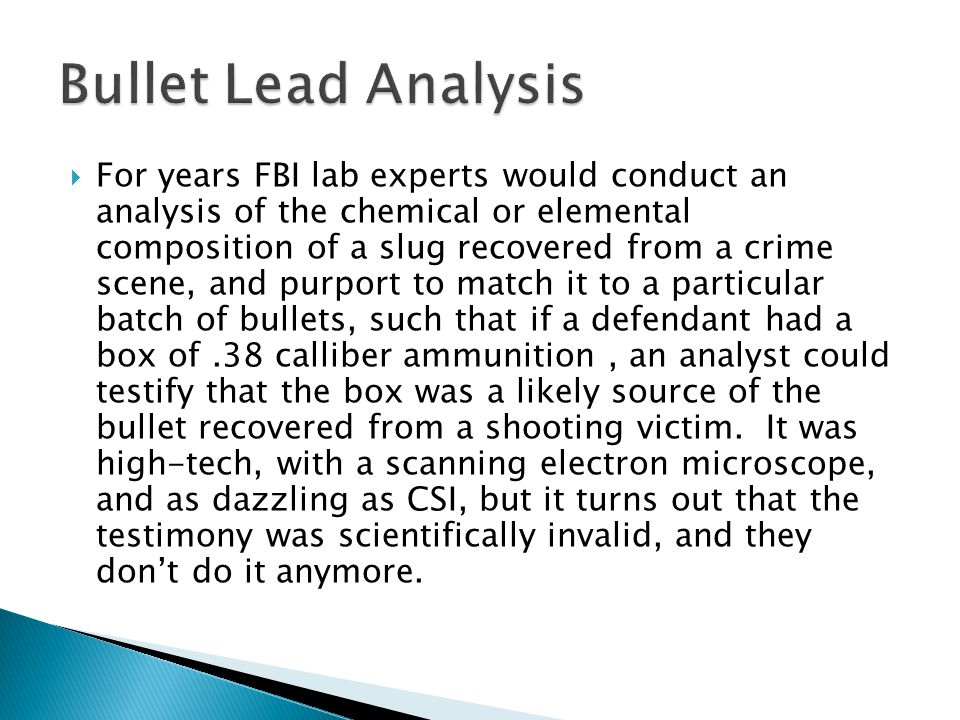 Bullet Lead Analysis