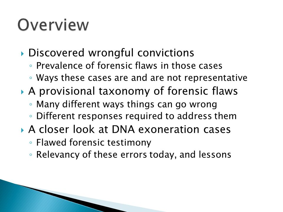 Overview Discovered wrongful convictions