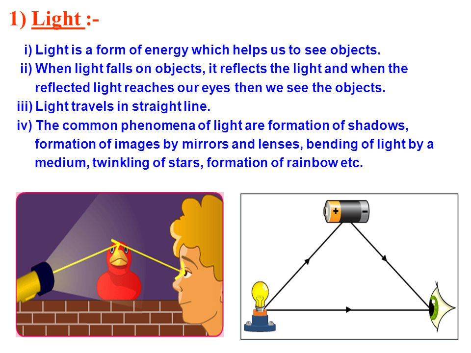 1) Light :- i) Light is a form of energy which helps us to see objects. ii) When light falls on objects, it reflects the light and when the.