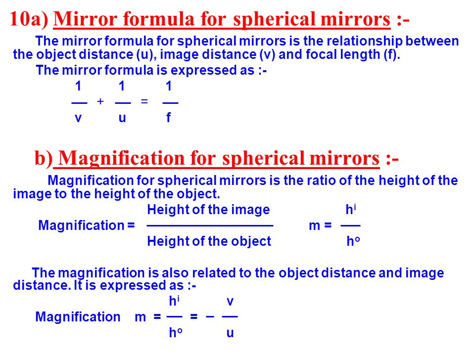Chapter 10 light reflection and refraction ppt video for Mirror formula