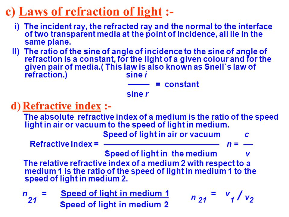 c) Laws of refraction of light :-