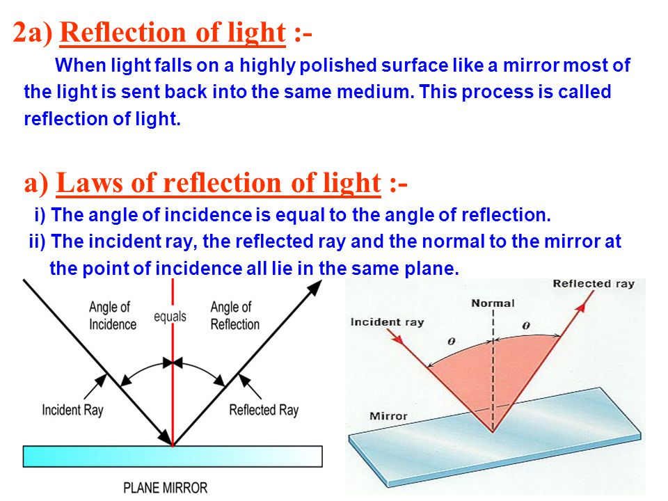 2a) Reflection of light :-