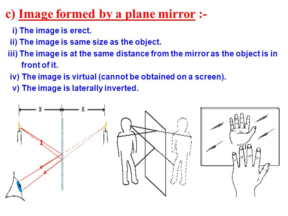 c) Image formed by a plane mirror :-
