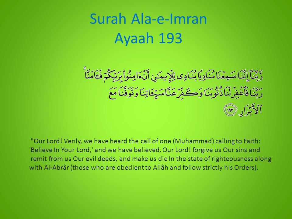 Surah Ala-e-Imran Ayaah 193