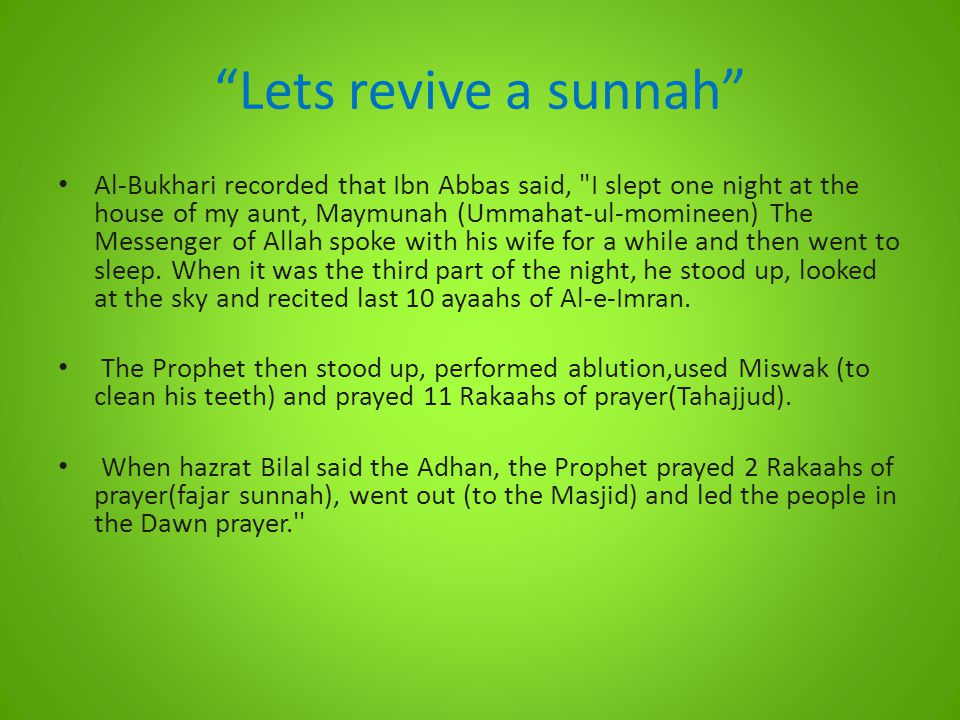 Lets revive a sunnah
