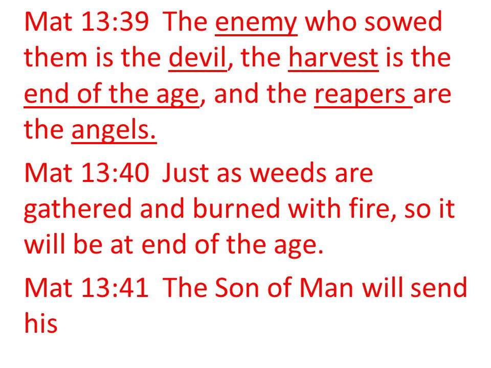 Mat 13:39 The enemy who sowed them is the devil, the harvest is the end of the age, and the reapers are the angels.