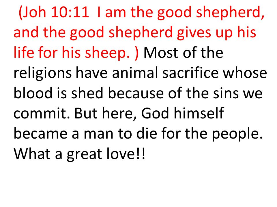 (Joh 10:11 I am the good shepherd, and the good shepherd gives up his life for his sheep.