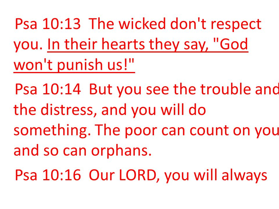 Psa 10:13 The wicked don t respect you