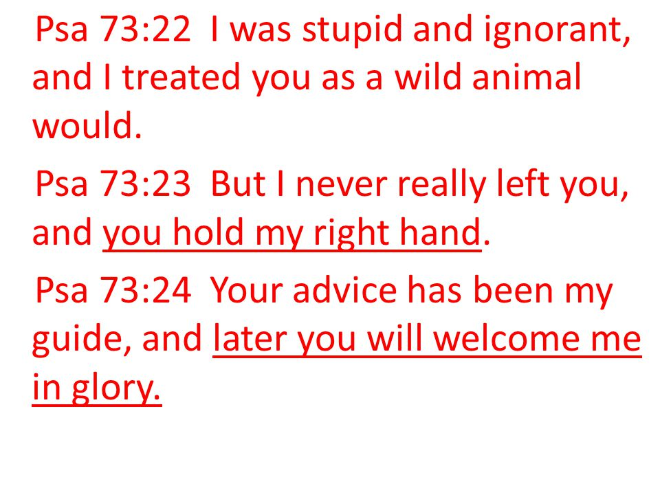 Psa 73:22 I was stupid and ignorant, and I treated you as a wild animal would.