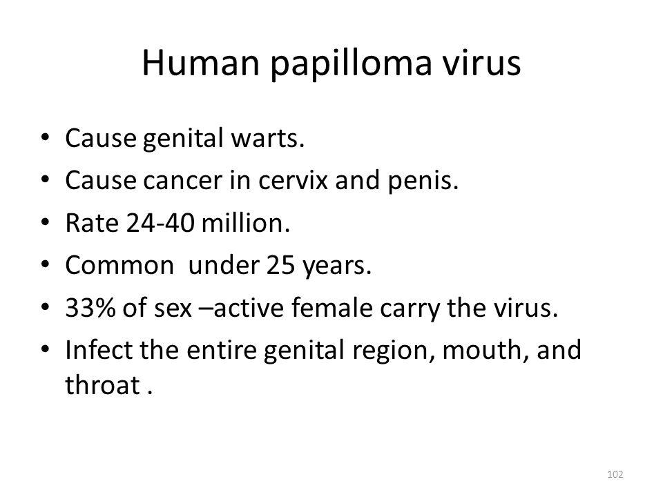 Human papilloma virus Cause genital warts.