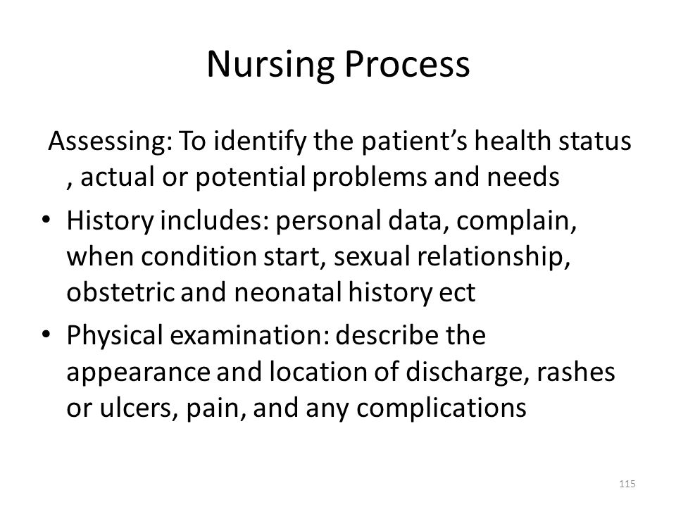Nursing Process Assessing: To identify the patient's health status , actual or potential problems and needs.