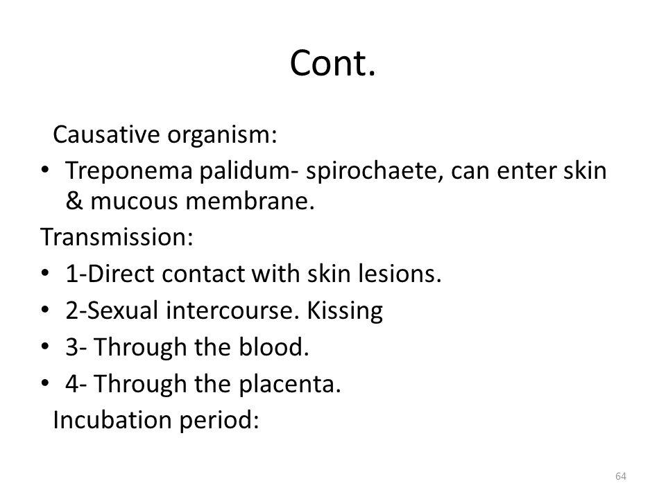 Cont. Causative organism: