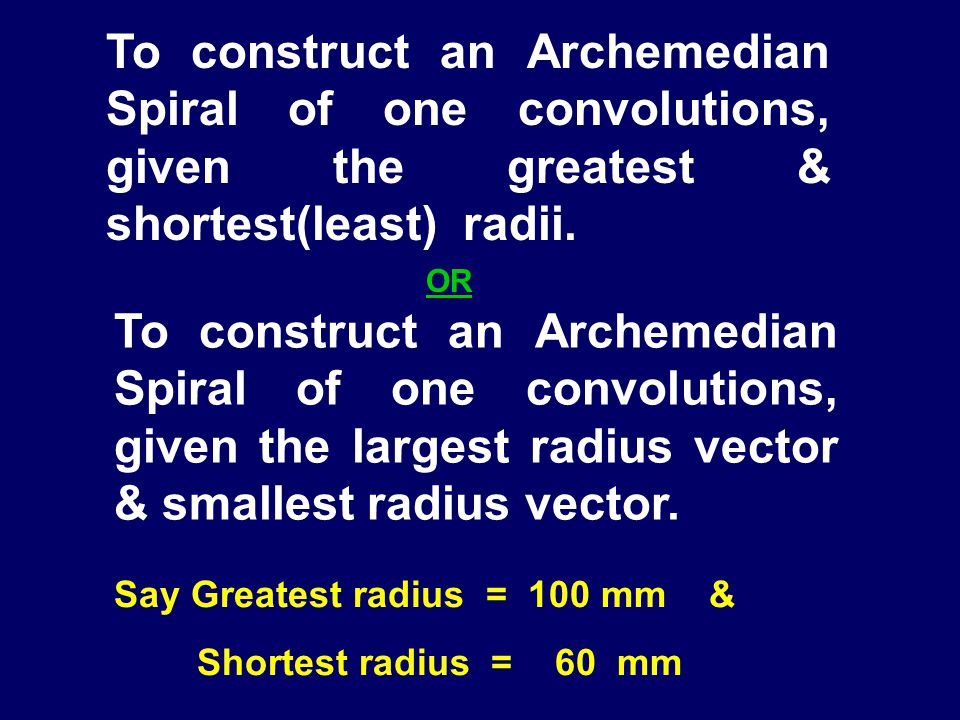 To construct an Archemedian Spiral of one convolutions, given the greatest & shortest(least) radii.