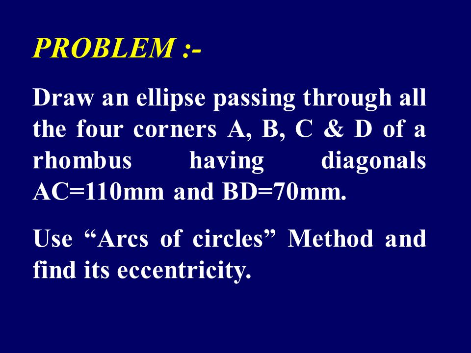 PROBLEM :- Draw an ellipse passing through all the four corners A, B, C & D of a rhombus having diagonals AC=110mm and BD=70mm.