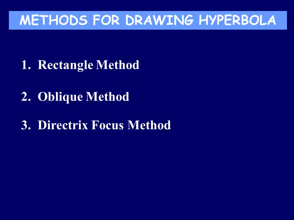 METHODS FOR DRAWING HYPERBOLA