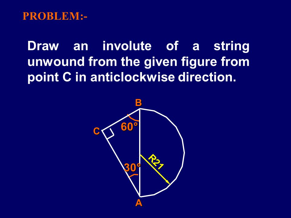 PROBLEM:- Draw an involute of a string unwound from the given figure from point C in anticlockwise direction.
