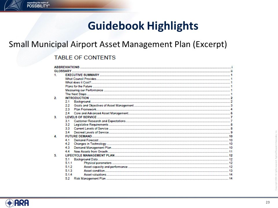 Guidebook Highlights Small Municipal Airport Asset Management Plan (Excerpt)