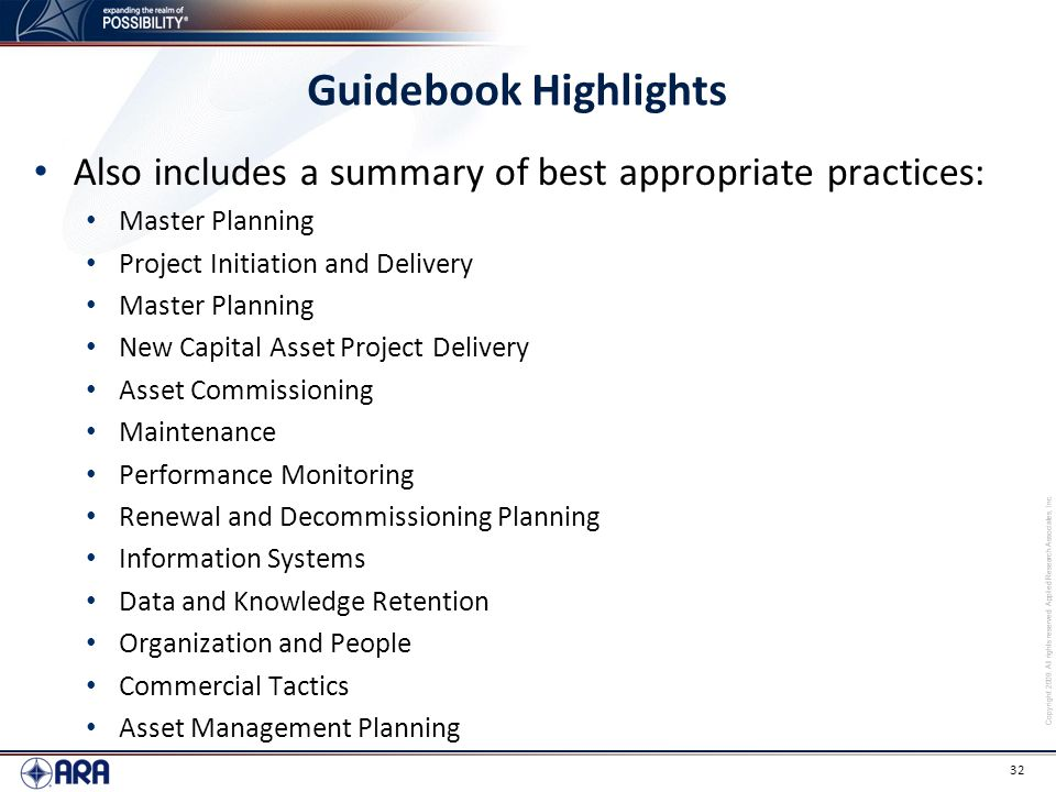 Guidebook Highlights Also includes a summary of best appropriate practices: Master Planning. Project Initiation and Delivery.