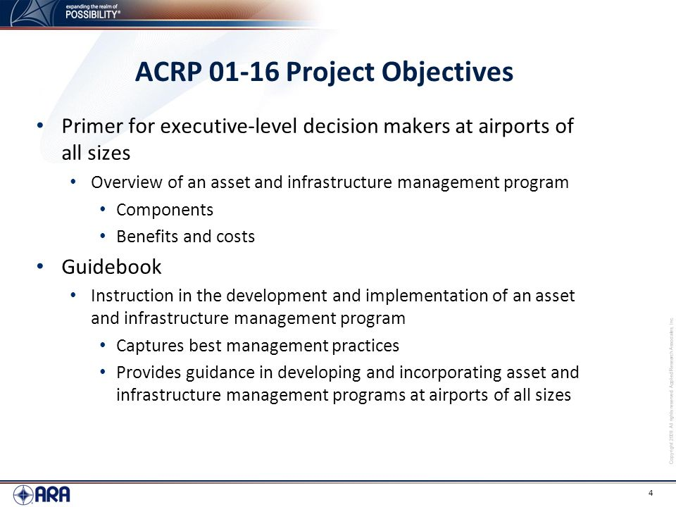 ACRP 01-16 Project Objectives