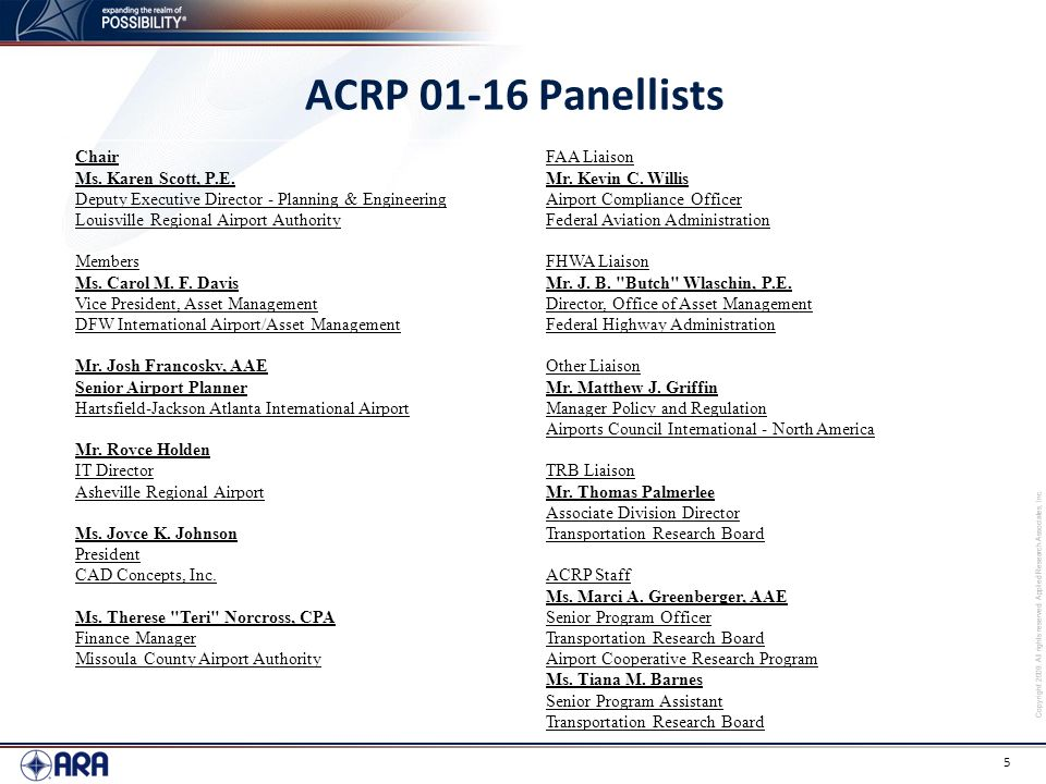 ACRP 01-16 Panellists Chair Ms. Karen Scott, P.E.